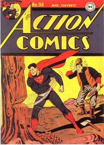 Action Comics 94 - Axe - Tree - Wood Chips - Logger - Incredulous