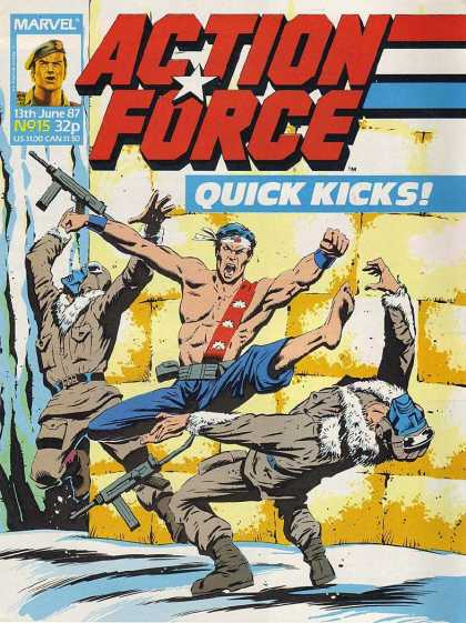 Action Force 15 - Quick Kicks - Fighting - Machine Gun - Mask - Belt