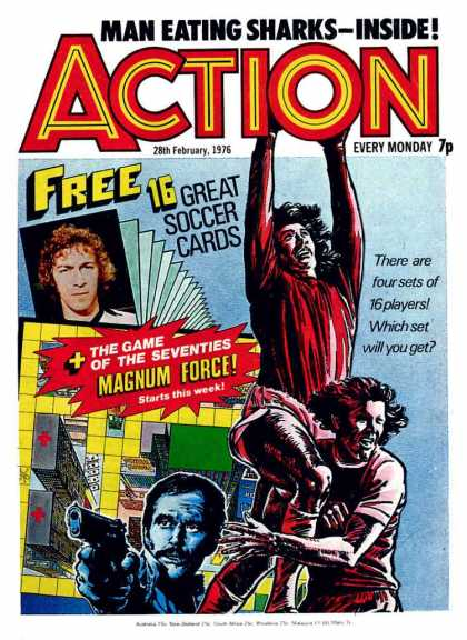 Action 3 - Man Eating Sharks - Free Soccer Cards - Magnum Force - Man With Gun - Game