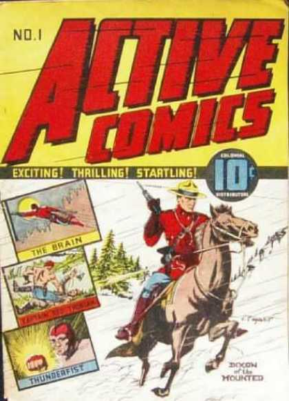 Active Comics 1 - Exciting - Thrilling - Startling - The Brain - Thunderfist