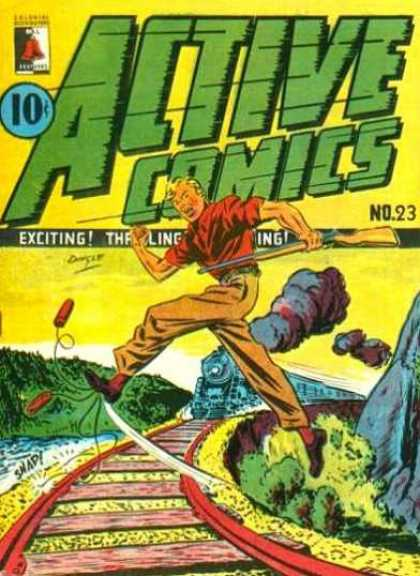 Active Comics 23 - Action - Speeding Train - Trap - Hunting - Classic
