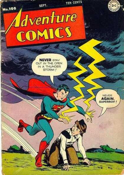 Adventure Comics 108 - Lightning - Clouds - Superboy - Storm - Thunder