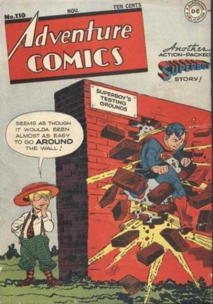 Adventure Comics 110 - Wall - Superboy - Bricks - Little Boy - Testing Ground