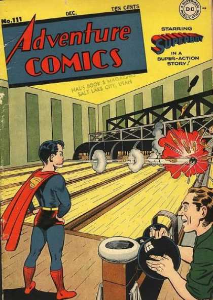 Adventure Comics 111 - Man - Boy - Bowling Alley - Bowling Ball - Pins - Joe Shuster