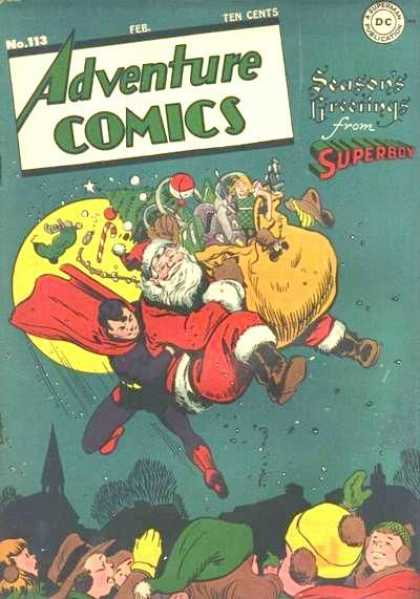 Adventure Comics 113 - Superboy - Christmas - Seasons Greetings - Santa Claus - Santa - George Roussos