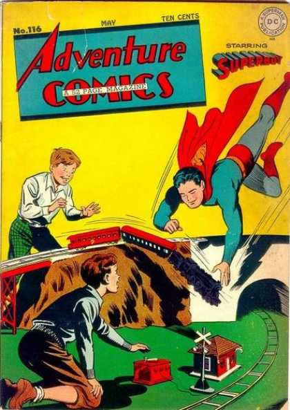 Adventure Comics 116 - Superboy - Train Set - Tunnel - Falling Train - Two Boys