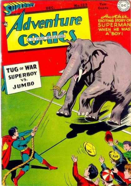 Adventure Comics 123 - Elephant - Superman - Superboy - Jumbo - Tug Of War - George Roussos