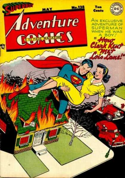 Adventure Comics 128 - Lois Lane - Superboy - Clark Kent - Fire