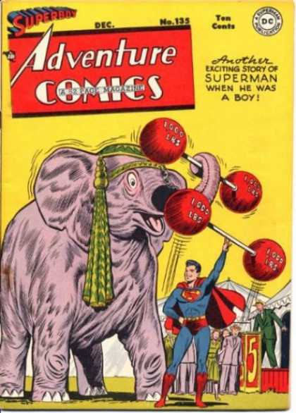 Adventure Comics 135 - Elephant - Pink - 1000 Pounds - Barbells - Boy Superman - George Roussos