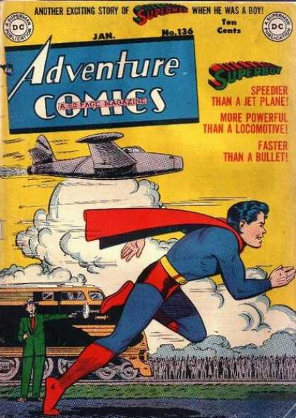 Adventure Comics 136 - Superboy - Superman - Plane - Train - Boy - George Roussos