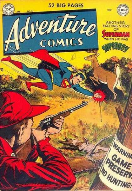 Adventure Comics 151 - Superman - Warning - Bullet - Deer - Gun