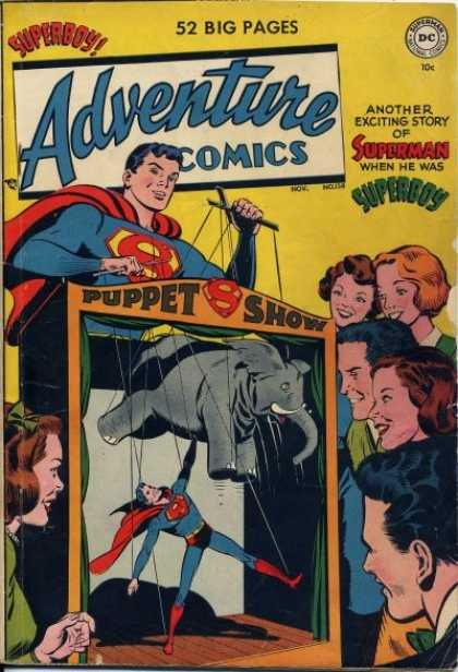 Adventure Comics 158 - Superman - Superboy - Dc Comics - Puppets - Elephant