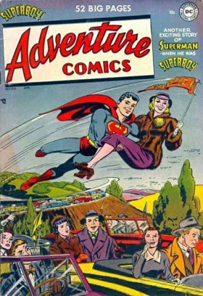 Adventure Comics 160 - Superboy - Cars - Flag - Pretty Girl - Traffic Jam