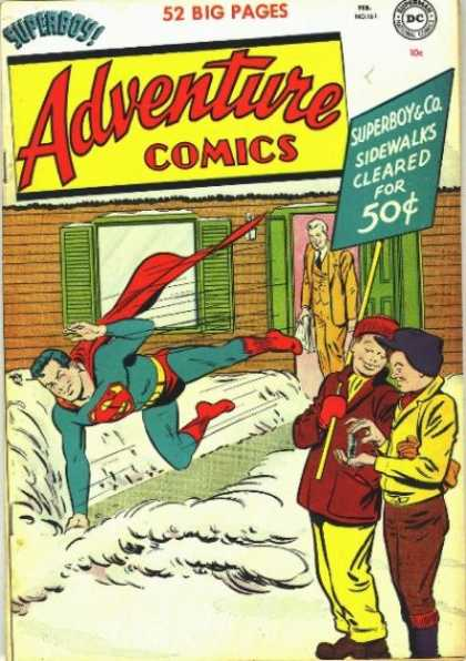 Adventure Comics 161 - Sign - Superboy - Snow - Superman - Sidewalks
