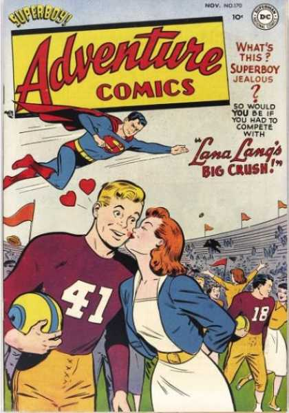 Adventure Comics 170 - Lana Lang - Football - Kiss - Superboy - Hearts