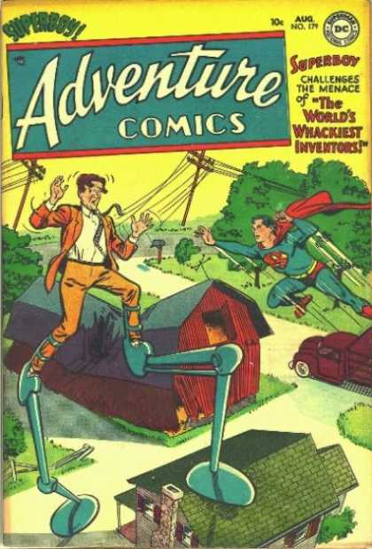 Adventure Comics 179 - Superboy - Superman - Barn - Inventor - Stilts