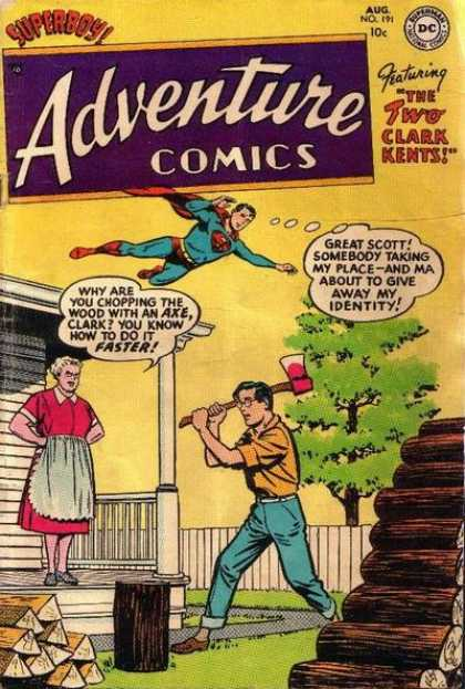 Adventure Comics 191 - Wood - Superboy - The Two Clark Kents - Axe Chopping - Ma On Porch
