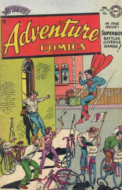 Adventure Comics 197 - Superman - Street - Bicycles - Building - Flying - Curt Swan