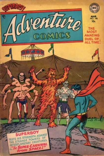 Adventure Comics 198 - Carnival - Superboy - Freaks - Circus - Man With Eight Hands - Curt Swan, Sy Barry