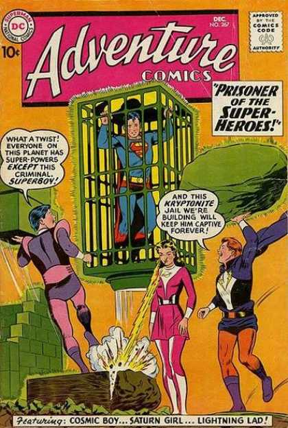 Adventure Comics 267 - Cage - Kryptonite - Caged Hero - Super Weak - Krypton Games - Curt Swan