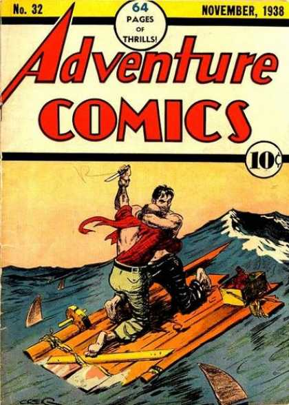 Adventure Comics 32 - Raft - Ocean - Knife - Sharks - Wave