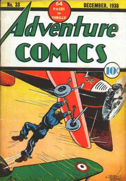 Adventure Comics 33 - Plane - Biplane - Airplane - Propeller - Thrills