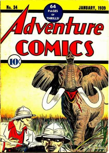 Adventure Comics 34 - Elephant - Safari - Adventure Comics - No 34 - January 1939