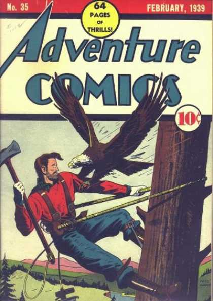 Adventure Comics 35 - Eagle - Axe - Tree - Man - Lumberjack