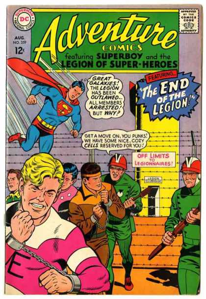 Adventure Comics 359 - Legion Of Super Heroes - Superboy - The End Of The Legion - Prisoners In Chains - Guards In Orange Helmets - Curt Swan