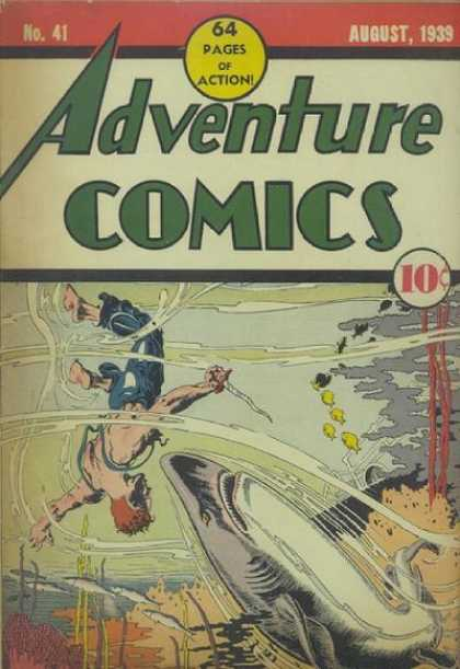 Adventure Comics 41 - Shark - Knife - Water - Ocean - Fish