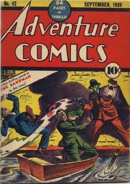 Adventure Comics 42 - Sandman - Water - Boat - Lantern - Shadow