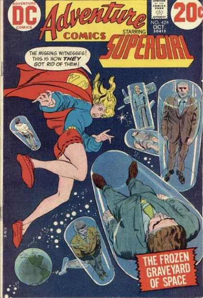 Adventure Comics 424 - Supergirl - Witnesses - Floating In Ice - The Frozen Graveyard Of Space - Red Cape - Bob Oksner