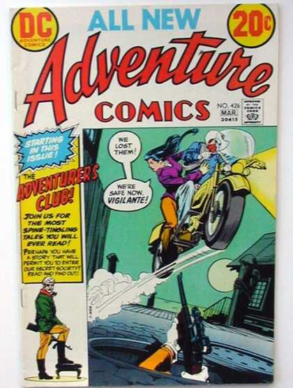 Adventure Comics 426 - Motorcycle - Woman - Man - Moon - Building - Dick Giordano