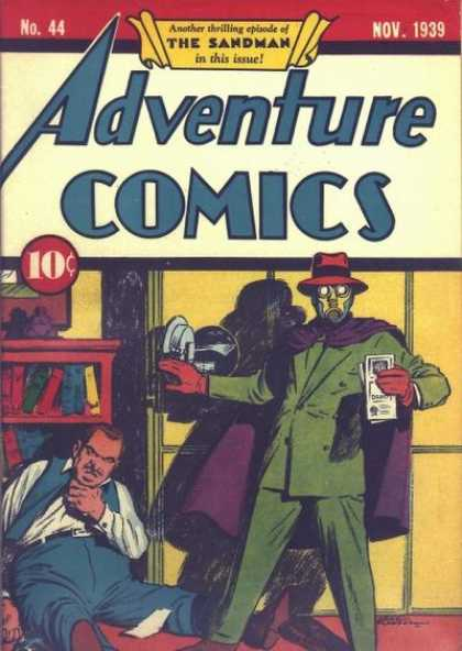Adventure Comics 44 - Sandman - Purple Cape - Green Suit - Shadow - Papers