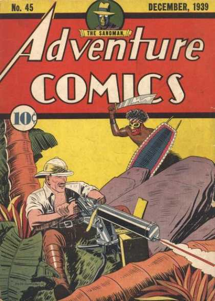 Adventure Comics 45 - Sandman - Gun - Safari - Sword - Shield