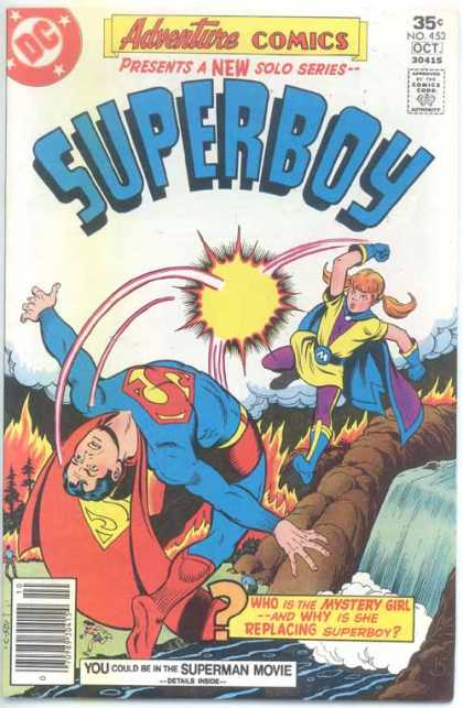 Adventure Comics 453 - Superboy - Superman - Punch - Waterfall - Mystery Girl
