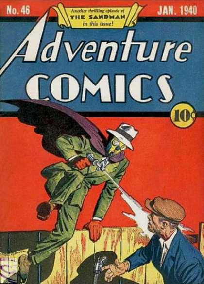 Adventure Comics 46 - Sandman - Gun - Fence - Mask - Cape