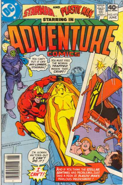 Adventure Comics 472 - Starman - Plastic Man - Trapped - Crypt - Piano - Dick Giordano, Ross Andru