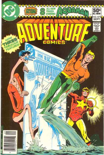 Adventure Comics 475 - Aquaman - Water - Three Fabulous Features - Long Neck - Star - Brian Bolland