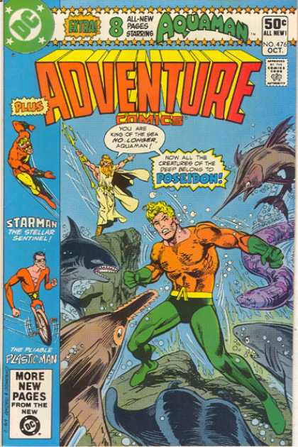 Adventure Comics 476 - Starman - Aquaman - Poseidon - Plastic Man - Adventure Comics - Dick Giordano, Ross Andru
