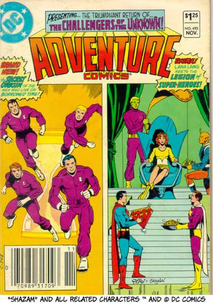 Adventure Comics 493 - Superman - Super Man - Spider Man - Runing Man - Siting Girl - Keith Giffen