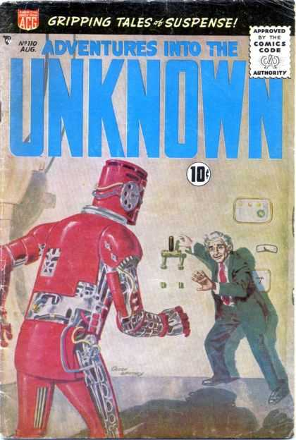 Adventures Into the Unknown 110 - Robot - Monster - Professor - Wall Lever - Attack