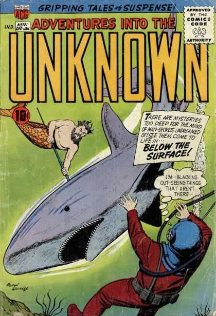 Adventures Into the Unknown 121 - Merman - Shark - Acg - 10 Cents - Thought Bubble
