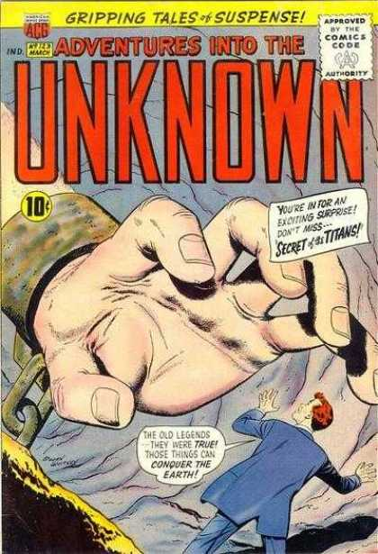 Adventures Into the Unknown 123 - Comics Of Suspense - Hand - Hand Shackle - Exciting Surprises - Story Plot Of Conquering The Earth