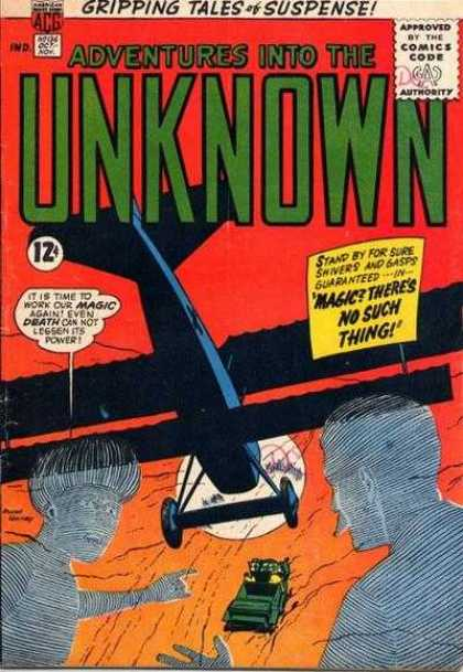 Adventures Into the Unknown 136 - Adventures Into The Unknown - Gripping Tales - Airplane - 12 Cents - Magic