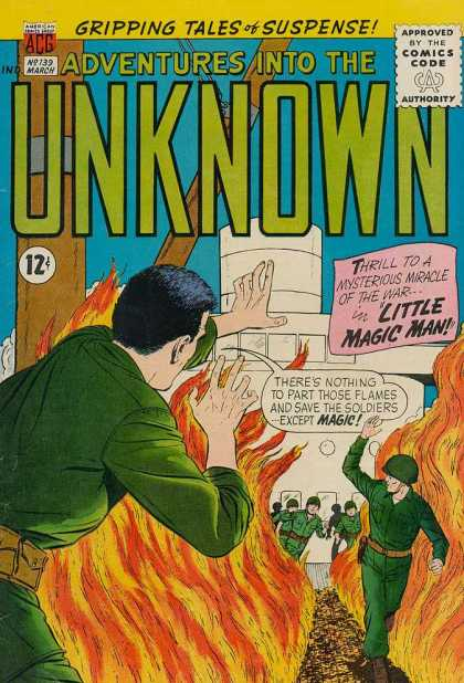 Adventures Into the Unknown 139 - Action - Fire - Men - Soldiers - Rescue