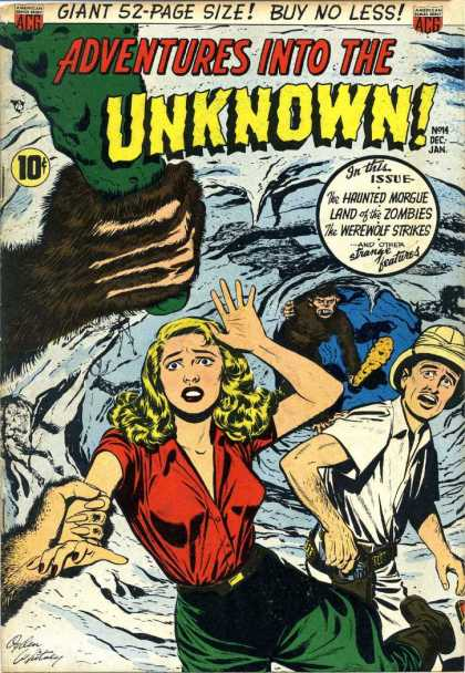 Adventures Into the Unknown 14 - Unknown - Haunted Morgue - Land Of The Zombies - Werewolf Strikes - Woman In Red Shirt