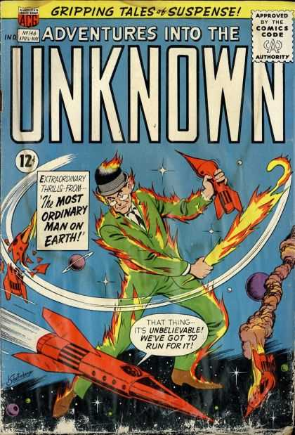 Adventures Into the Unknown 148 - Earth - Man - Thrills - Spaceship - Fire