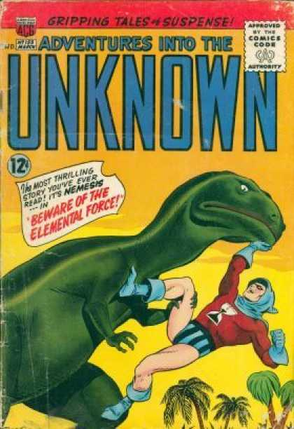 Adventures Into the Unknown 155 - Dinosaur - Suspense - Beware Of The Elemental Force - Nemesis - Palm Trees