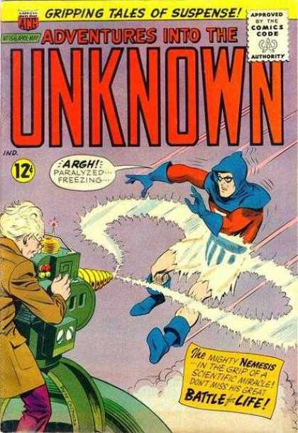 Adventures Into the Unknown 156 - Electric Underpants - Blue Hood - Ray Gun - Scientist - Gripping Tales